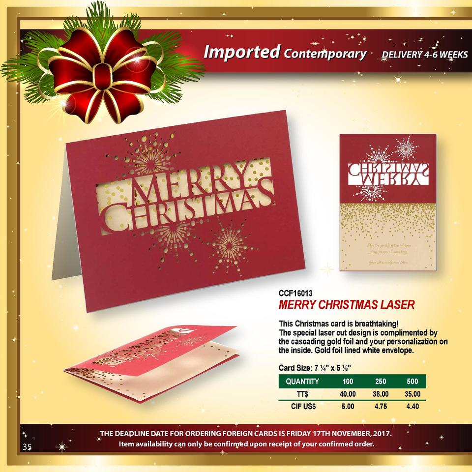 Imported Contemporary  DELIVERY 4-6 WEEKS  CCF16013  MERRY CHRISTMAS LASER This Christmas card is breathtaking  The specia...