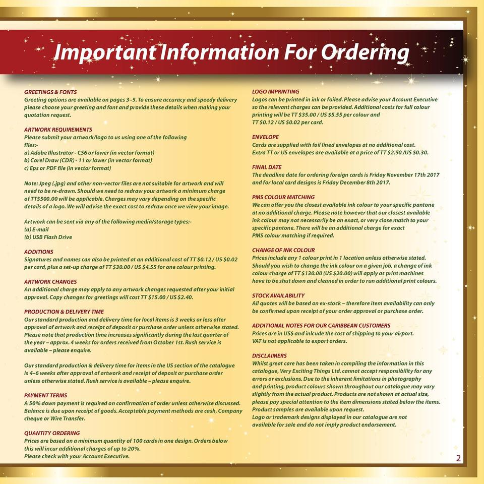 Important Information For Ordering GREETINGS   FONTS Greeting options are available on pages 3   5. To ensure accuracy and...