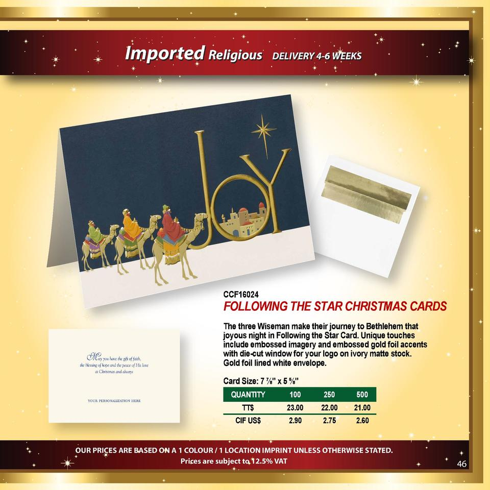 Imported Religious  DELIVERY 4-6 WEEKS  CCF16024  FOLLOWING THE STAR CHRISTMAS CARDS The three Wiseman make their journey ...