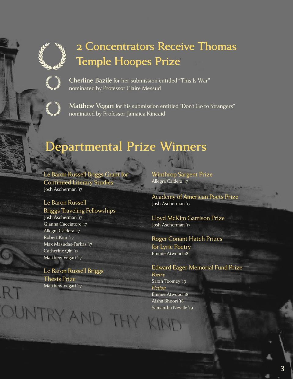 2 Concentrators Receive Thomas Temple Hoopes Prize  CONGRATULATIONS CLASS OF 2017  Cherline Bazile for her submission enti...