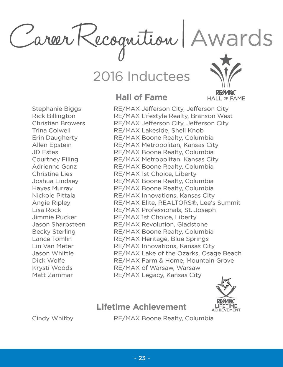 Career Recognition   Awards 2016 Inductees Hall of Fame Stephanie Biggs Rick Billington Christian Browers Trina Colwell Er...