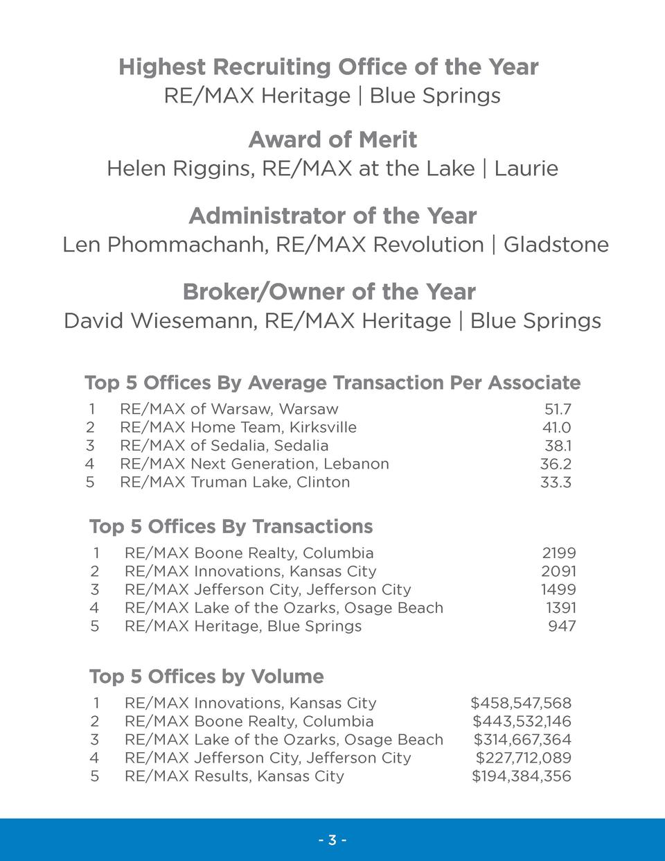 Highest Recruiting Office of the Year RE MAX Heritage   Blue Springs  Award of Merit Helen Riggins, RE MAX at the Lake   L...