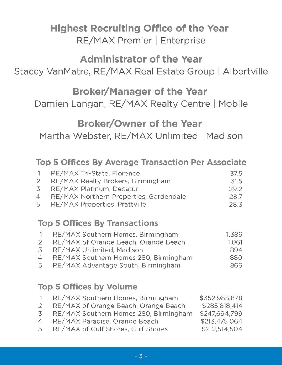 Highest Recruiting Office of the Year RE MAX Premier   Enterprise  Administrator of the Year Stacey VanMatre, RE MAX Real ...