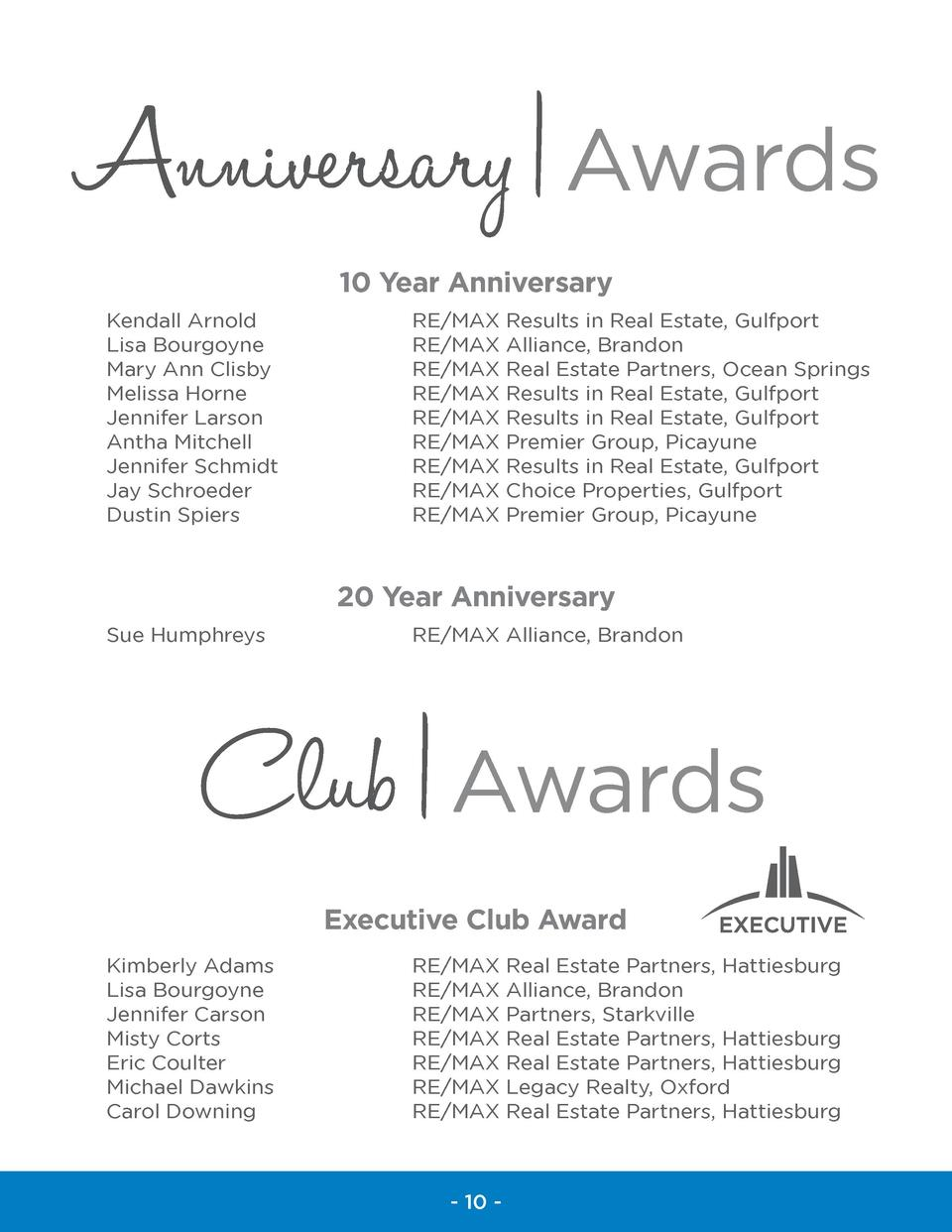 Anniversary   Awards 10 Year Anniversary Kendall Arnold Lisa Bourgoyne Mary Ann Clisby Melissa Horne Jennifer Larson Antha...