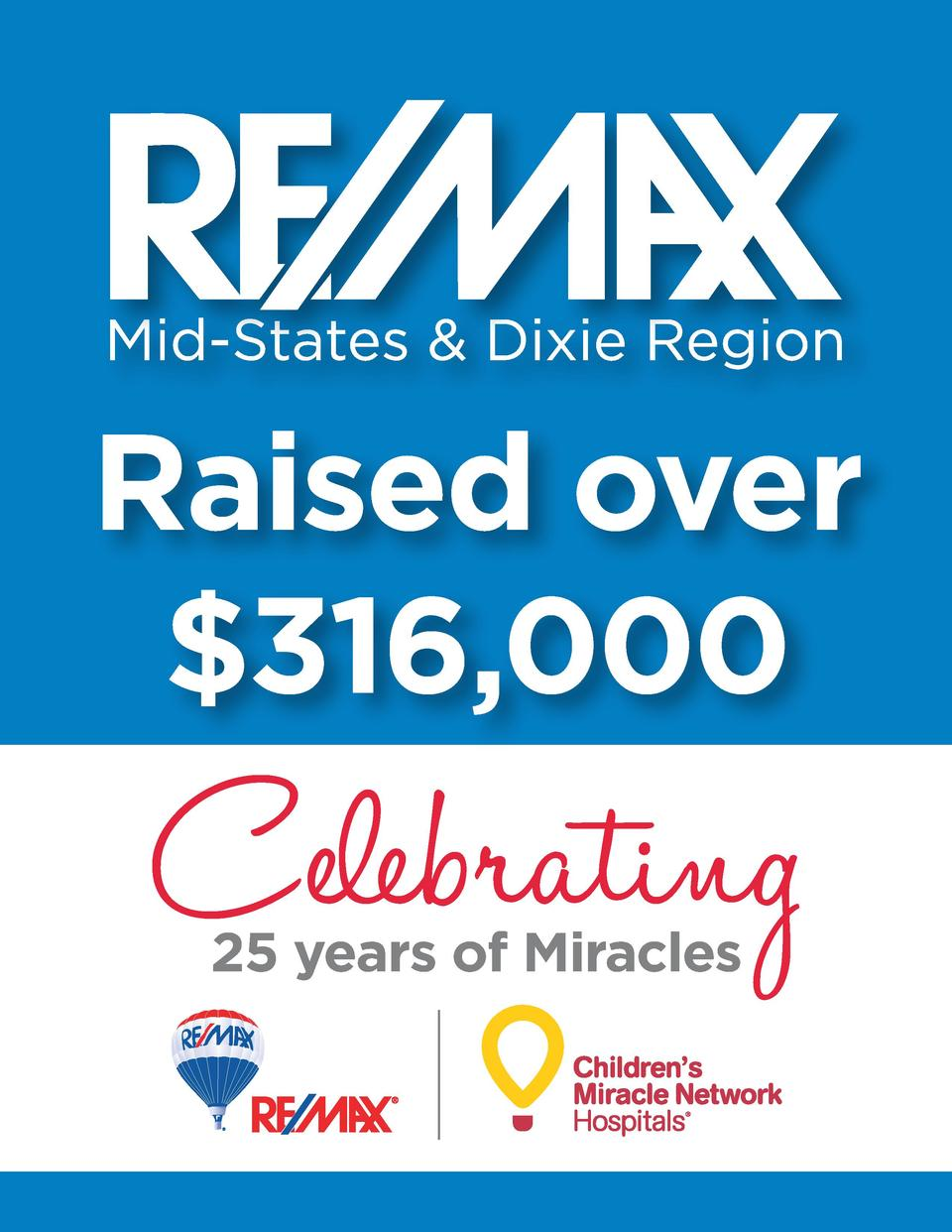 Raised over  316,000  Celebrating 25 years of Miracles