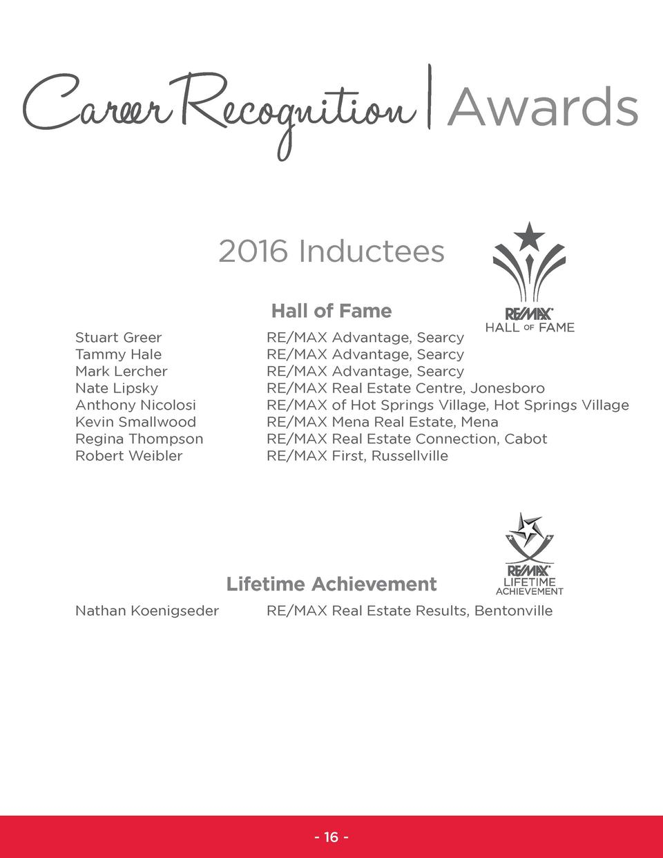 Career Recognition   Awards 2016 Inductees Hall of Fame Stuart Greer Tammy Hale Mark Lercher Nate Lipsky Anthony Nicolosi ...