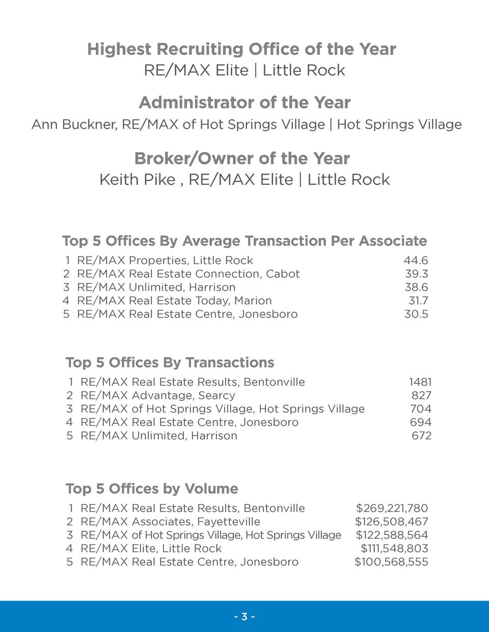 Highest Recruiting Office of the Year RE MAX Elite   Little Rock  Administrator of the Year Ann Buckner, RE MAX of Hot Spr...