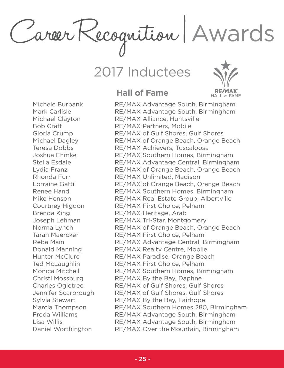 Career Recognition   Awards 2017 Inductees Hall of Fame Michele Burbank Mark Carlisle Michael Clayton Bob Craft Gloria Cru...