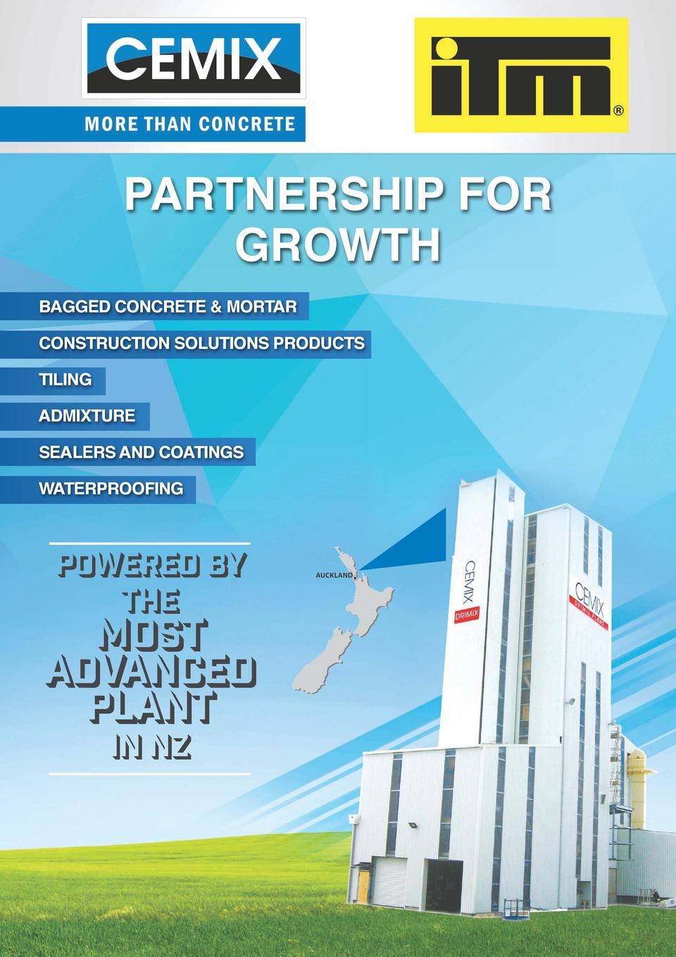 PARTNERSHIP FOR GROWTH BAGGED CONCRETE   MORTAR CONSTRUCTION SOLUTIONS PRODUCTS TILING ADMIXTURE SEALERS AND COATINGS WATE...