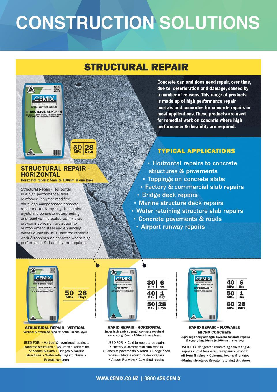 CONSTRUCTION SOLUTIONS STRUCTURAL REPAIR Concrete can and does need repair, over time, due to deterioration and damage, ca...