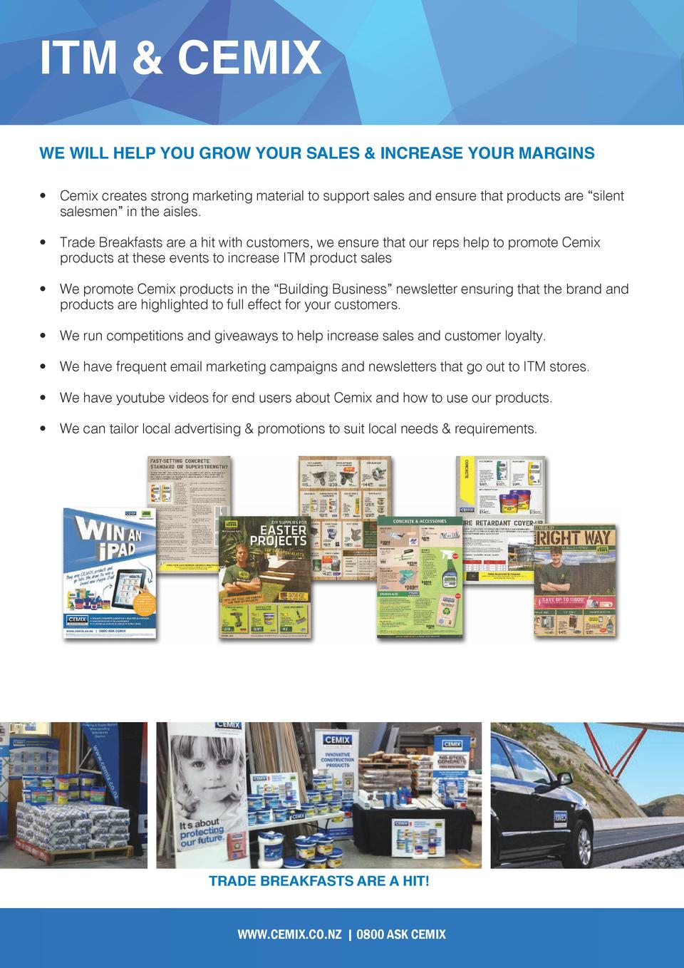 ITM   CEMIX WE WILL HELP YOU GROW YOUR SALES   INCREASE YOUR MARGINS      Cemix creates strong marketing material to suppo...