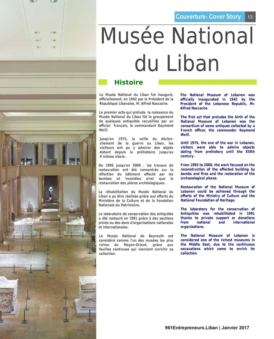 Couverture- Cover Story  13  Mus  e National du Liban Histoire  Le Mus  e National du Liban fut inaugur  , o   ciellement,...