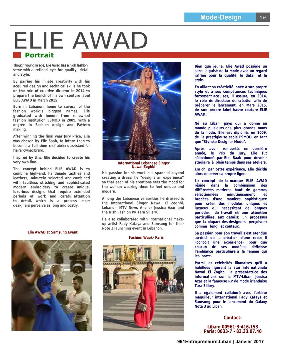 Mode-Design  ELIE AWAD  19  Portrait  Though young in age, Elie Awad has a high fashion sense with a refined eye for quali...