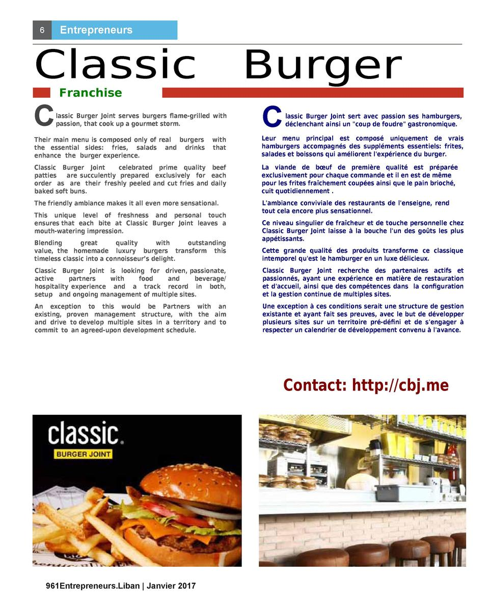 Entrepreneurs  6  Classic C  Burger  Franchise  lassic Burger Joint serves burgers    ame-grilled with passion, that cook ...