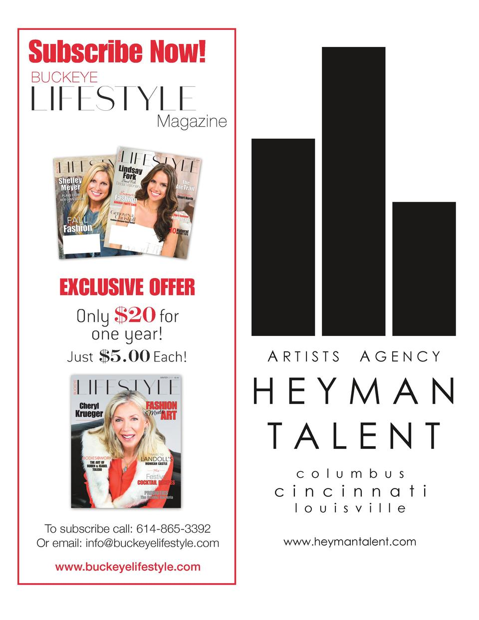 Subscribe Now  Buckeye  LIFESTYLE Magazine  EXCLUSIVE OFFER Only  20 for one year  Just  5.00 Each   ARTISTS  AGENCY     H...