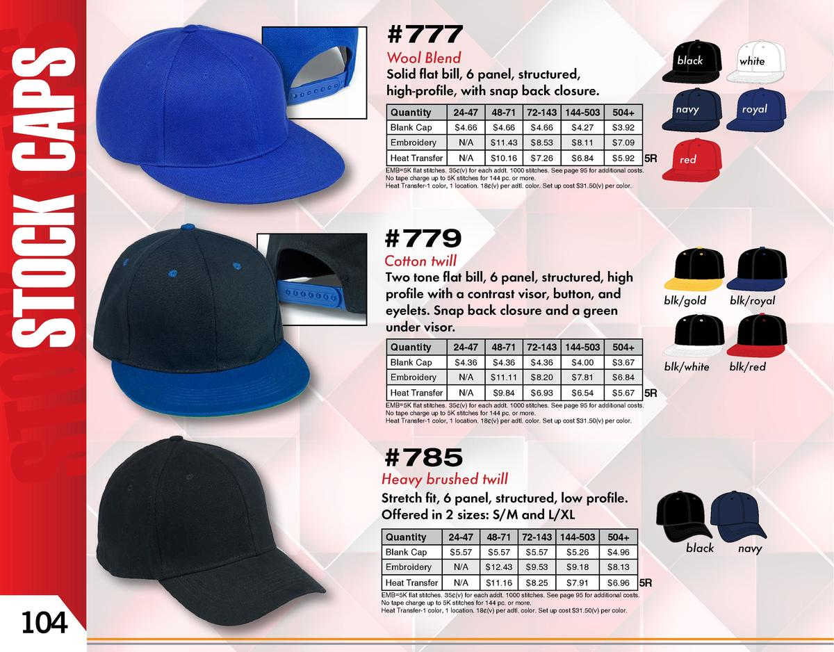 777   777 Wool Blend  Solid flat bill, 6 panel, structured, high-profile, with snap back closure. Quantity  24-47  48-71  ...