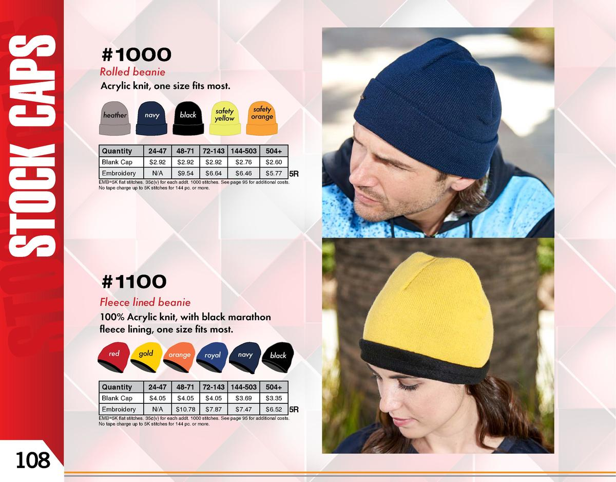 ety ow   1000 Rolled beanie  1000 Acrylic knit, one size fits most. heather  navy  black  safety yellow  1100 safety orang...