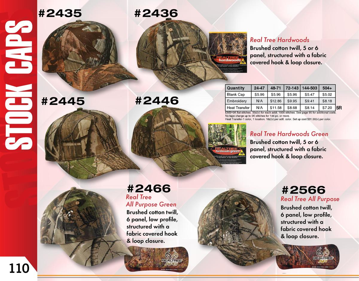 2435   2436 Real Tree Hardwoods Brushed cotton twill, 5 or 6 panel, structured with a fabric covered hook   loop closure....