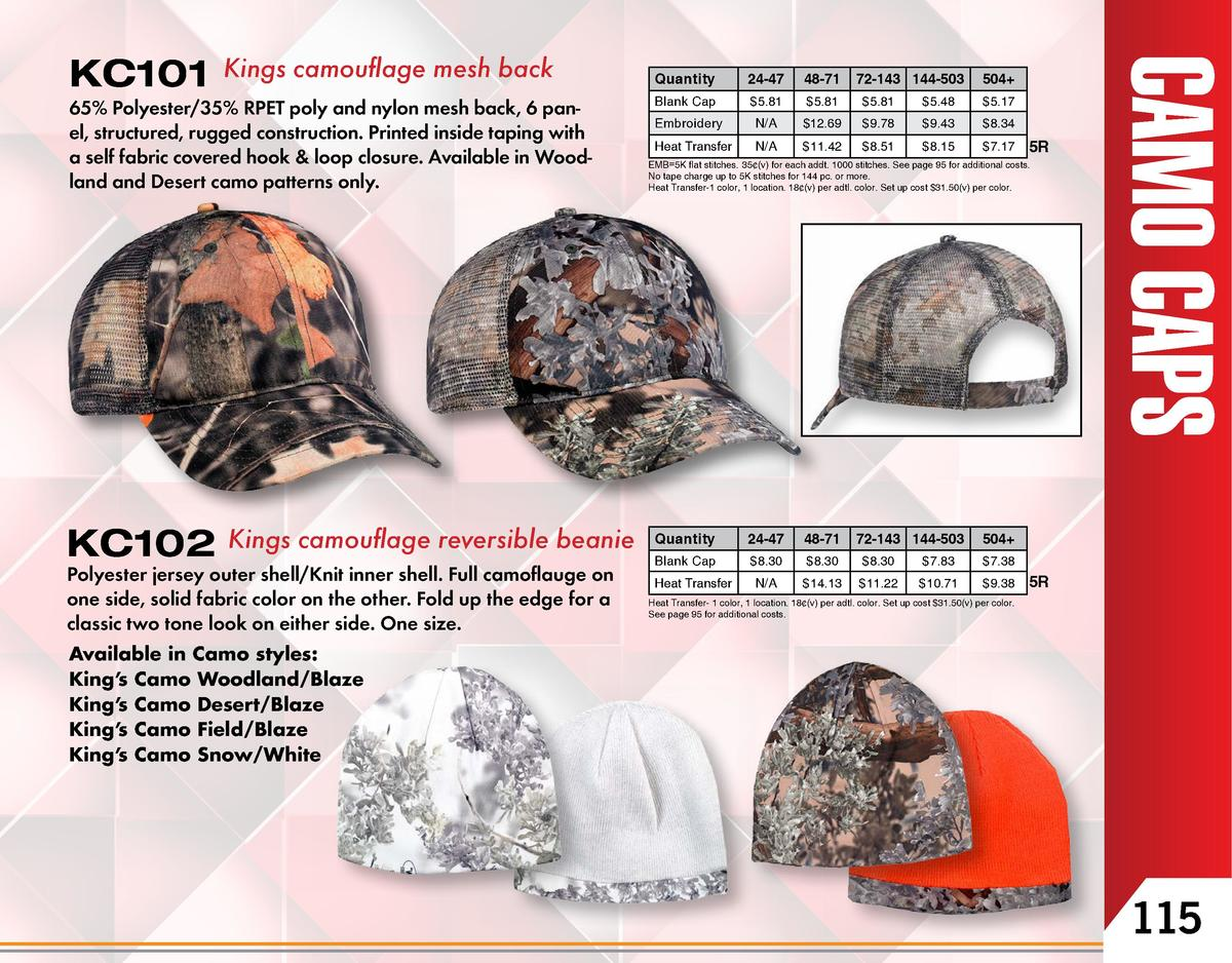 Kings camouflage mesh back  65  Polyester 35  RPET poly and nylon mesh back, 6 panel, structured, rugged construction. Pri...