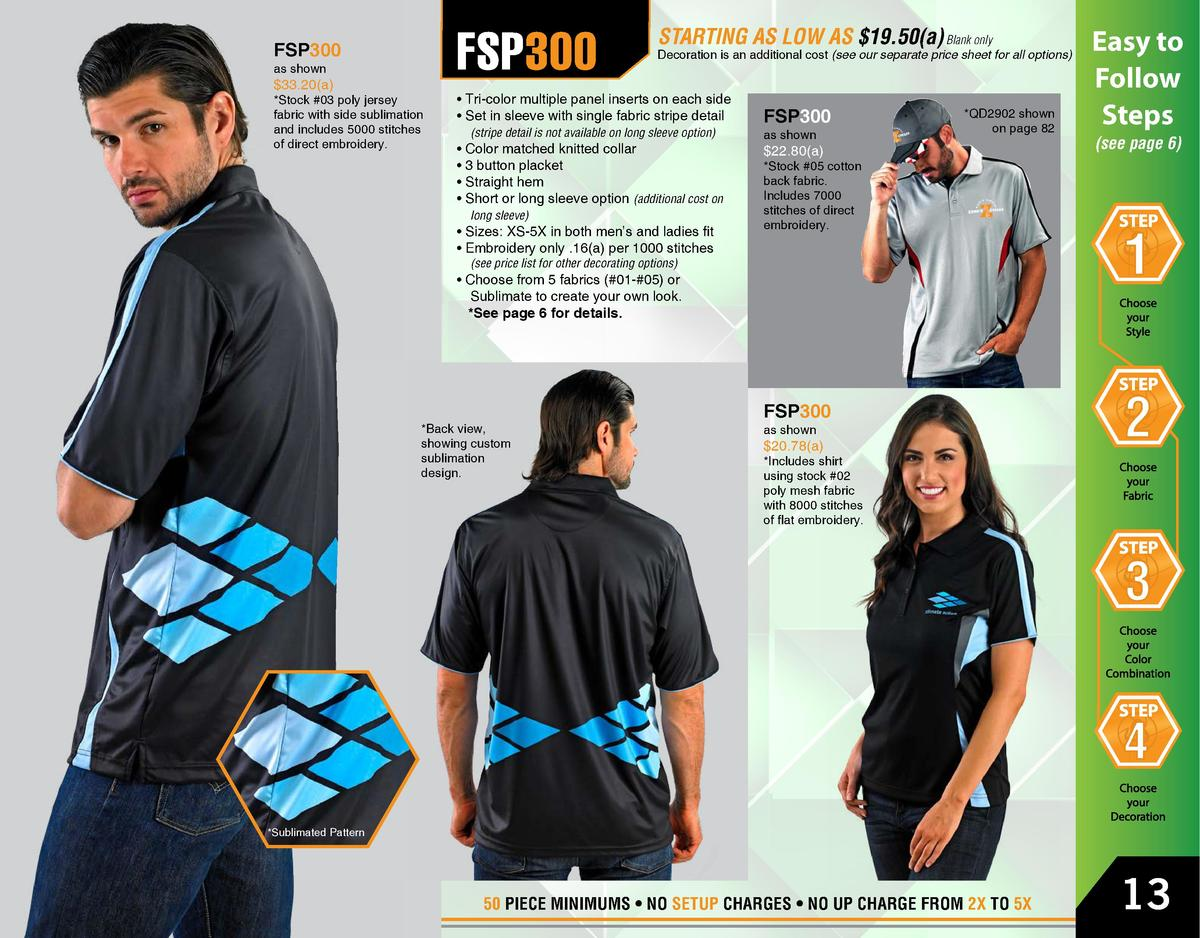 FSP300  FSP300 as shown   33.20 a    Stock  03 poly jersey fabric with side sublimation and includes 5000 stitches of dire...