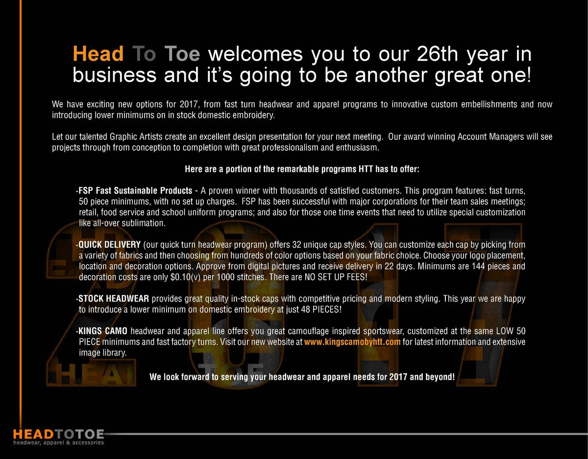 Head To Toe welcomes you to our 26th year in business and it   s going to be another great one  We have exciting new optio...