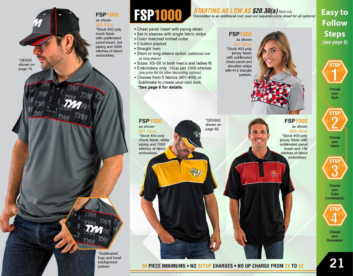 FSP1000 as shown   25.60 a    Stock  02 poly mesh fabric with sublimated panel insert, red piping and 5000 stitches of dir...