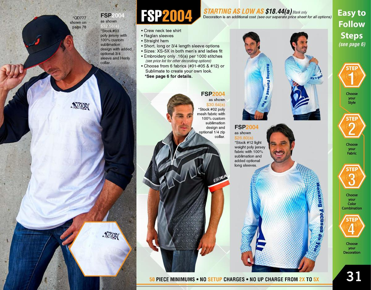 QD777 shown on page 78  FSP2004 as shown   32.58 a    Stock  03 poly jersey with 100  custom sublimation design with adde...
