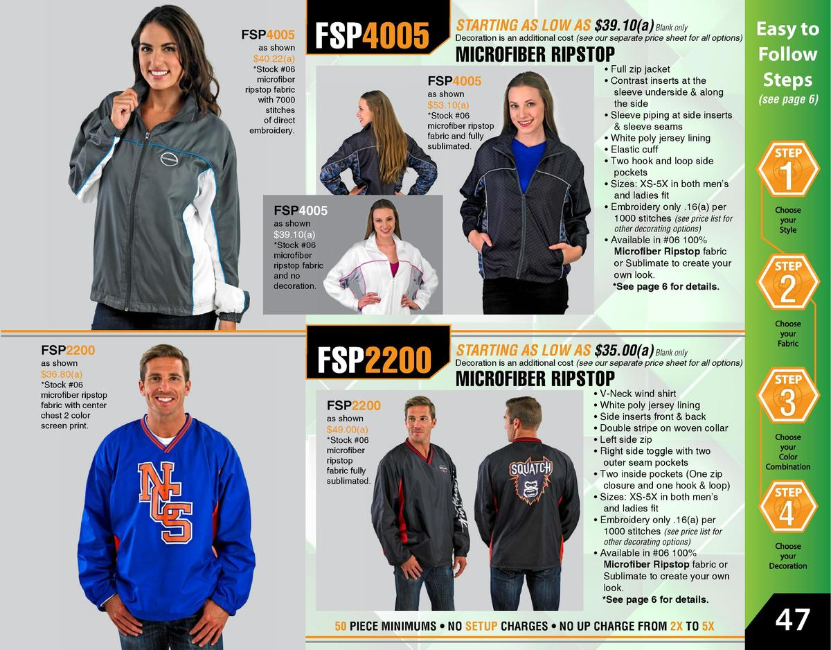 FSP4005  as shown   40.22 a   FSP4005   Stock  06 microfiber ripstop fabric with 7000 stitches of direct embroidery.   53....