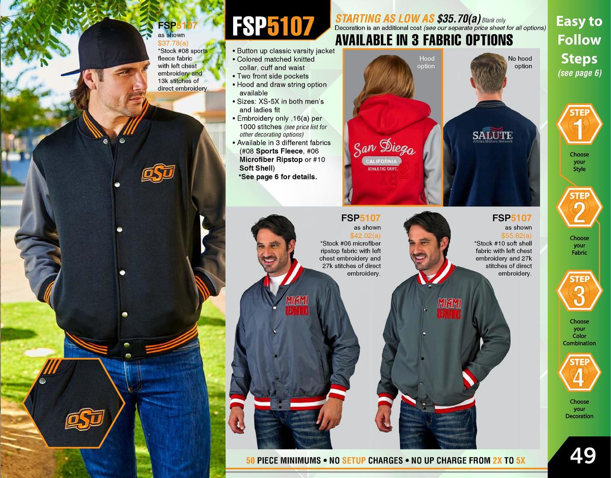 FSP5107 as shown   37.78 a    Stock  08 sports fleece fabric with left chest embroidery and 13k stitches of direct embroid...