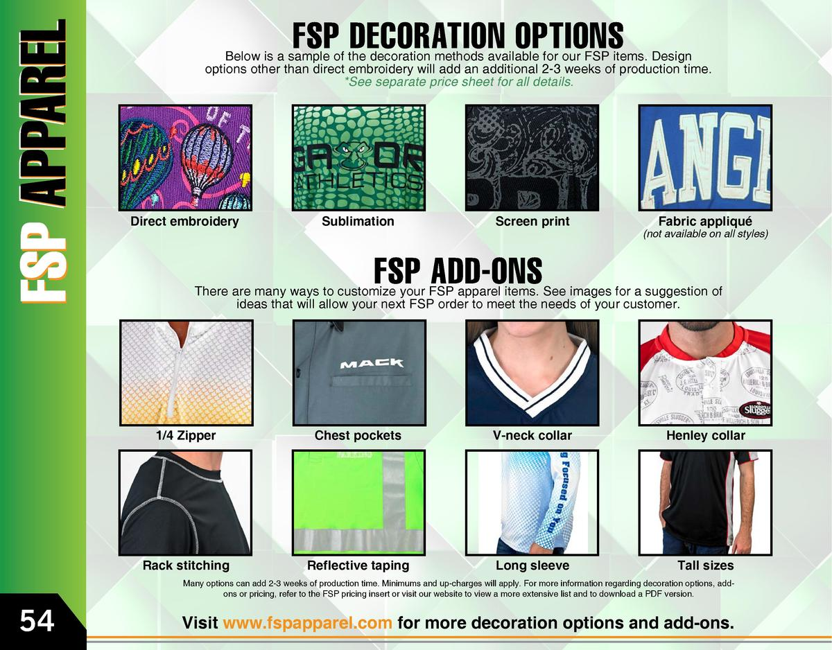FSP DECORATION OPTIONS  Below is a sample of the decoration methods available for our FSP items. Design options other than...