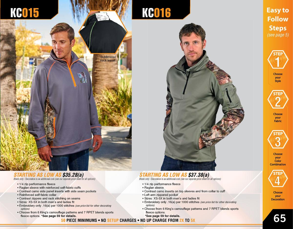 KC015  KC016  Easy to Follow Steps  see page 5    Sublimated neck insert.  STARTING AS LOW AS  35.28 a   Blank only - Deco...