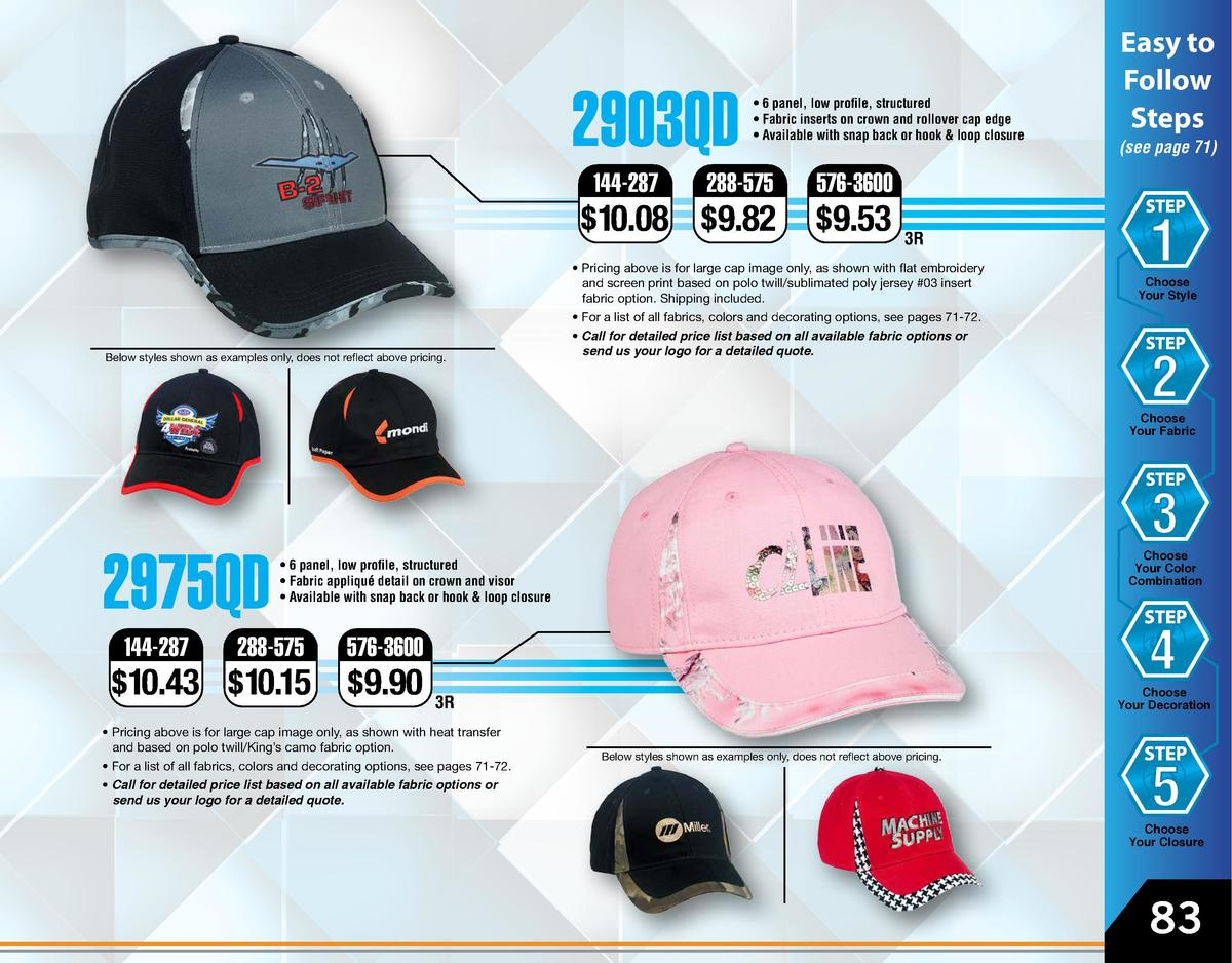 2903QD style 2903  144-287      6 panel, low profile, structured     Fabric inserts on crown and rollover cap edge     Ava...