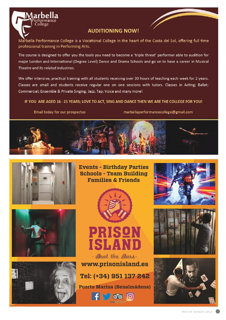 Events - Birthday Parties Schools - Team Building Families   Friends  Beat the Bars  www.prisonisland.es Tel    34  951 13...