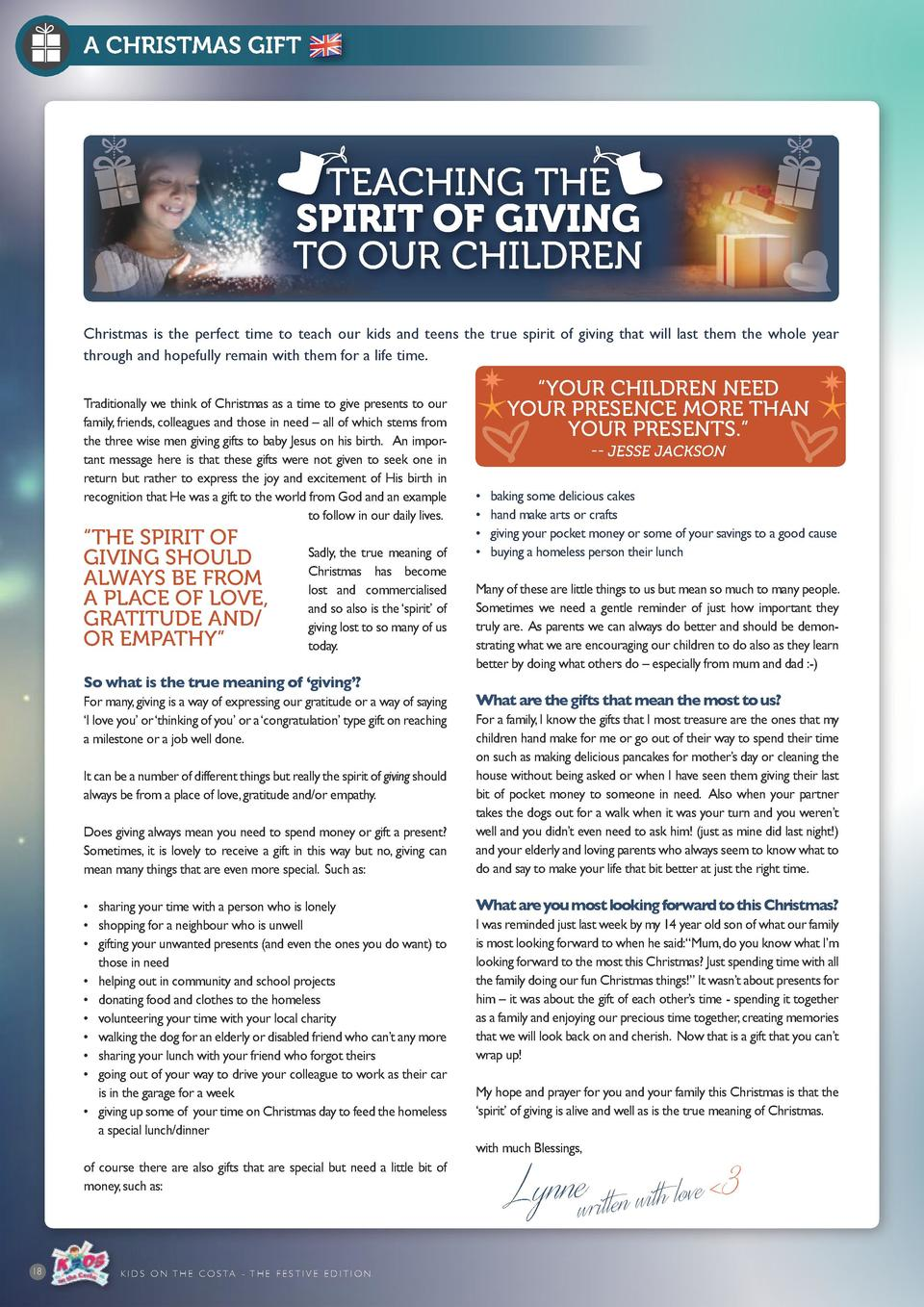 A CHRISTMAS GIFT  TEACHING THE SPIRIT OF GIVING TO OUR CHILDREN Christmas is the perfect time to teach our kids and teens ...