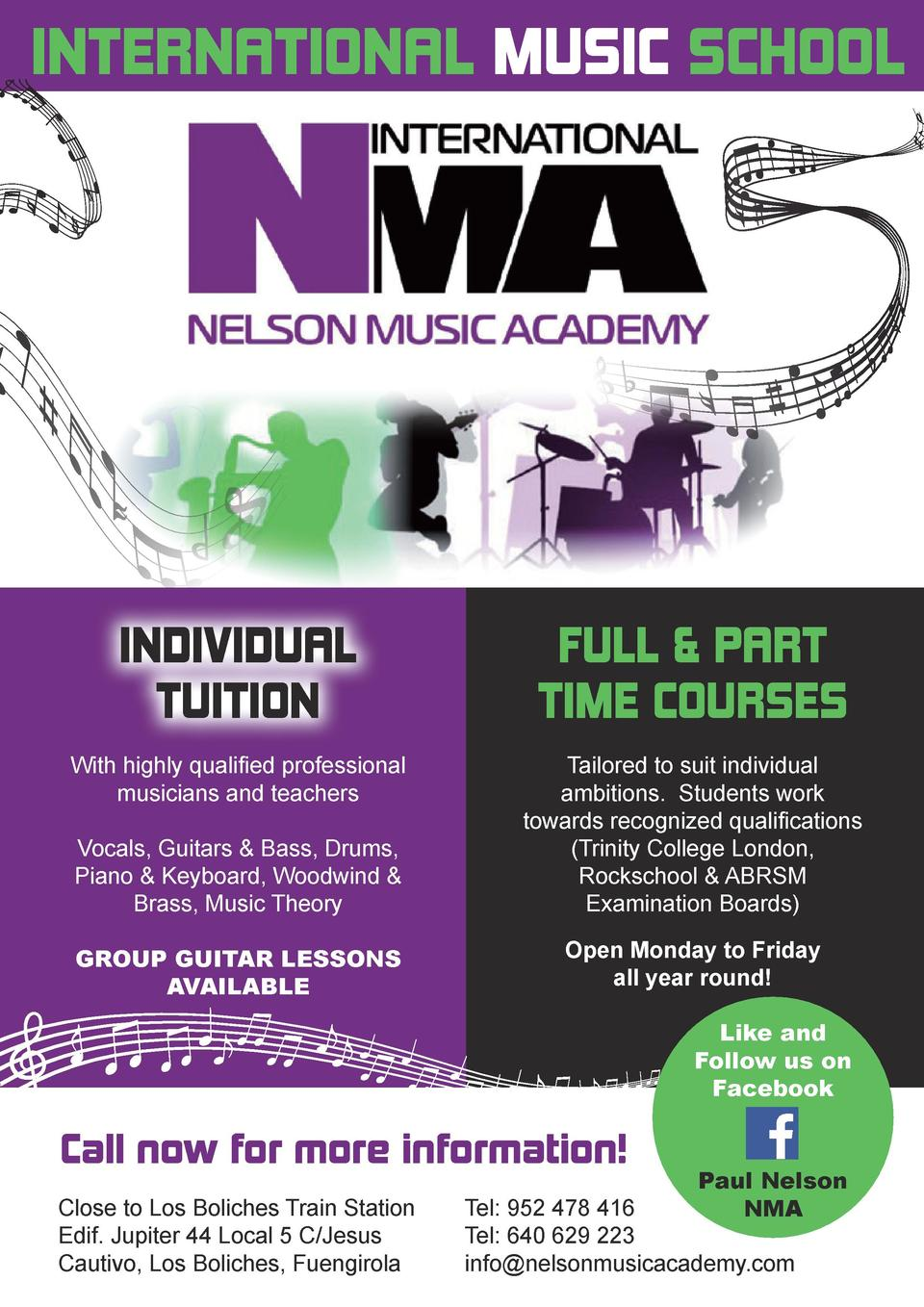 INTERNATIONAL MUSIC SCHOOL  INDIVIDUAL TUITION  FULL   PART TIME COURSES  With highly qualified professional musicians and...