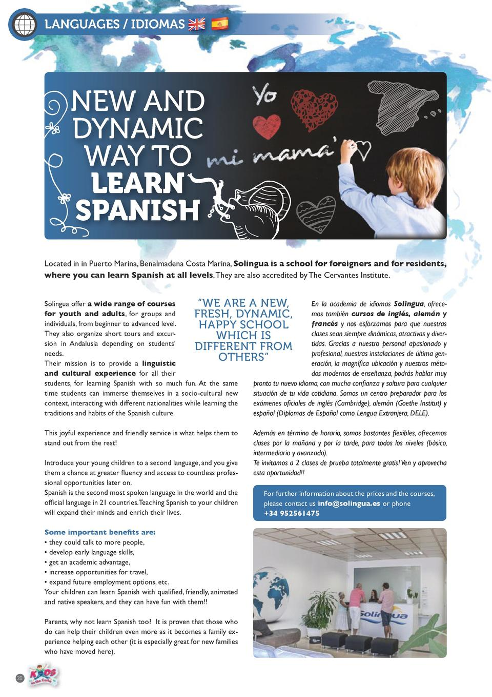 LANGUAGES   IDIOMAS  NEW AND DYNAMIC WAY TO LEARN SPANISH Located in in Puerto Marina, Benalmadena Costa Marina, Solingua ...