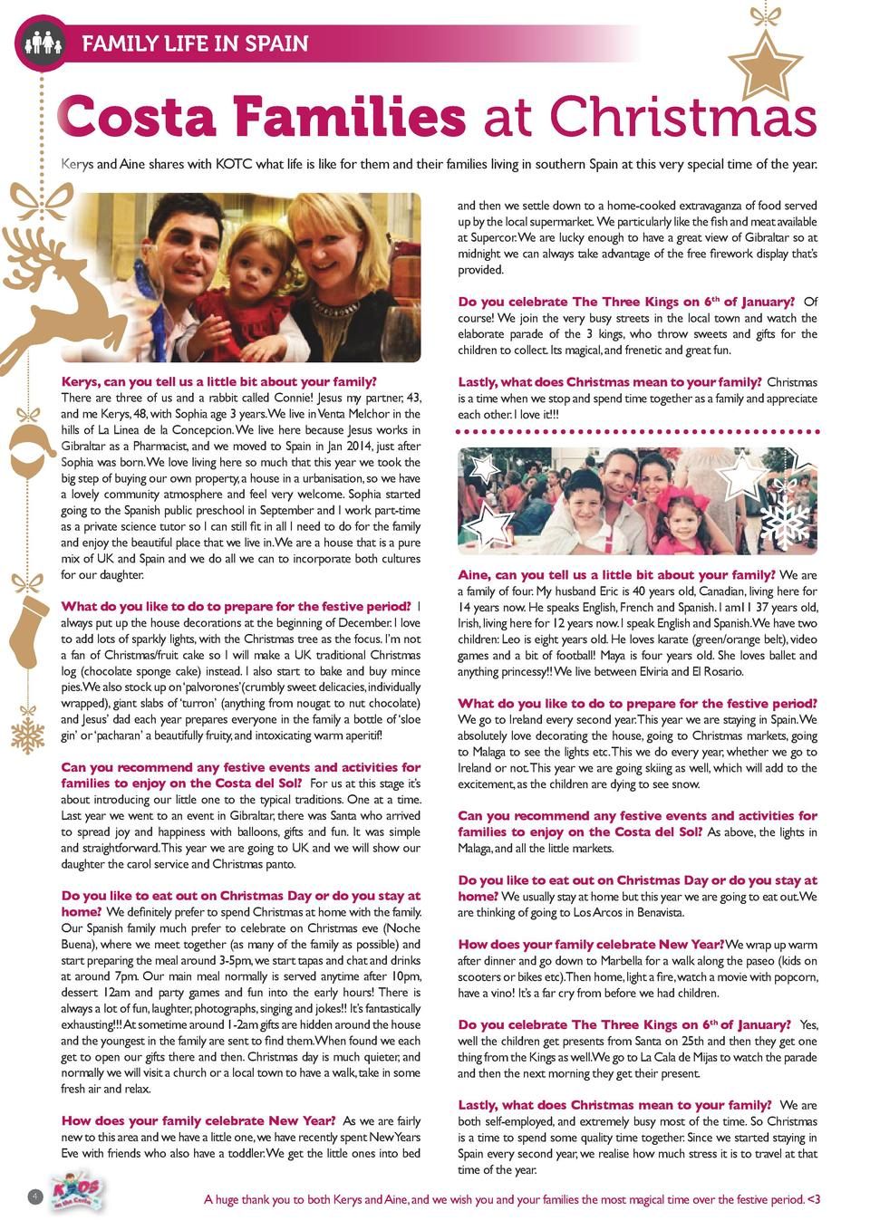 FAMILY LIFE IN SPAIN  Costa Families at Christmas Kerys and Aine shares with KOTC what life is like for them and their fam...