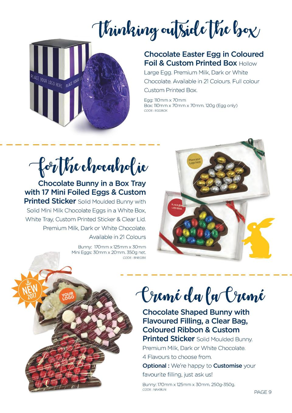 Thinking outside the box Chocolate Easter Egg in Coloured Foil   Custom Printed Box Hollow Large Egg. Premium Milk, Dark o...