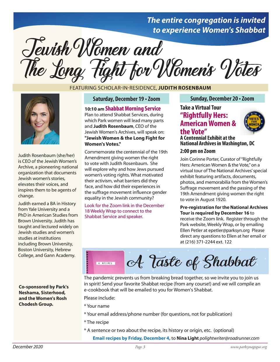 The entire congregation is invited to experience Women s Shabbat  Jewish Women and The Long Fight for Womens Votes    FEAT...