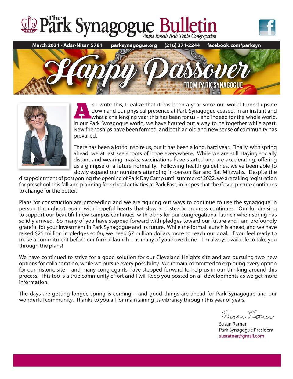 March 2021     Adar-Nisan 5781  parksynagogue.org   216  371-2244  facebook.com parksyn  Happy Passover from Park Synagogu...