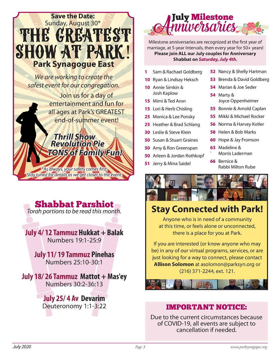Anniversaries  Save the Date  Sunday, August 30   Greatest Show at Park  Park Synagogue East  July Milestone   The  We are...