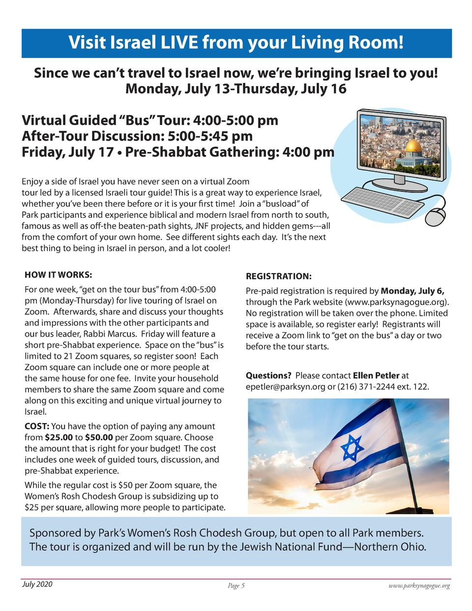 Visit Israel LIVE from your Living Room  Since we can   t travel to Israel now, we   re bringing Israel to you  Monday, Ju...