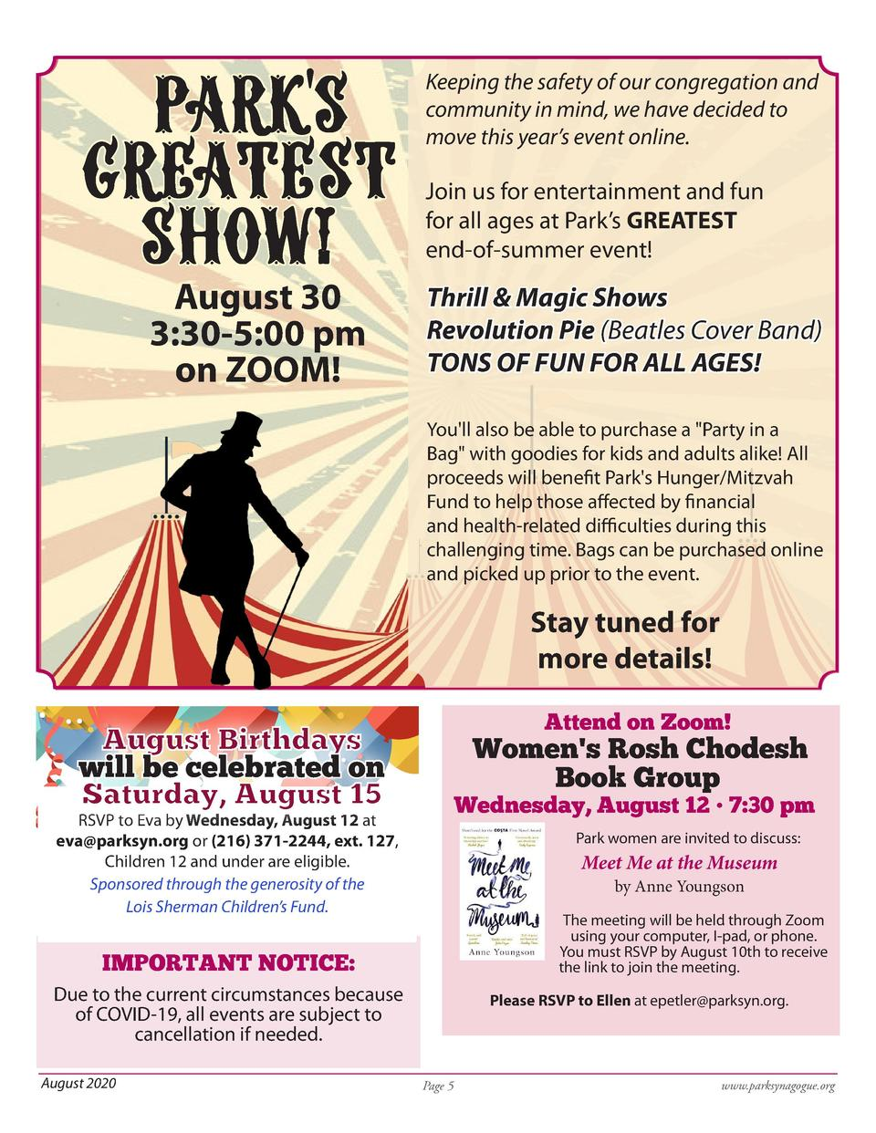 Parks greatest show  August 30 3 30-5 00 pm on ZOOM   Keeping the safety of our congregation and community in mind, we ...