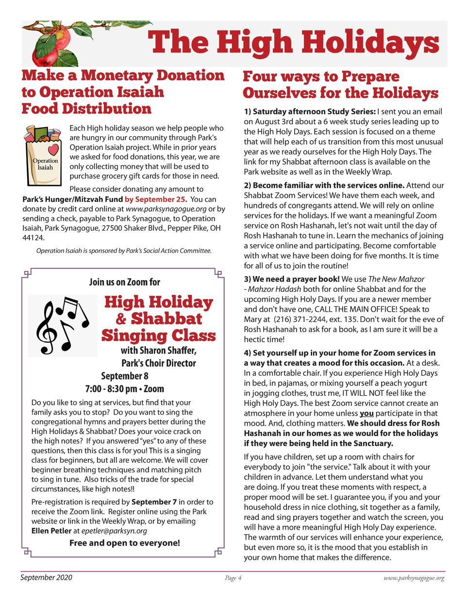 The High Holidays Make a Monetary Donation to Operation Isaiah Food Distribution  Four ways to Prepare Ourselves for the H...