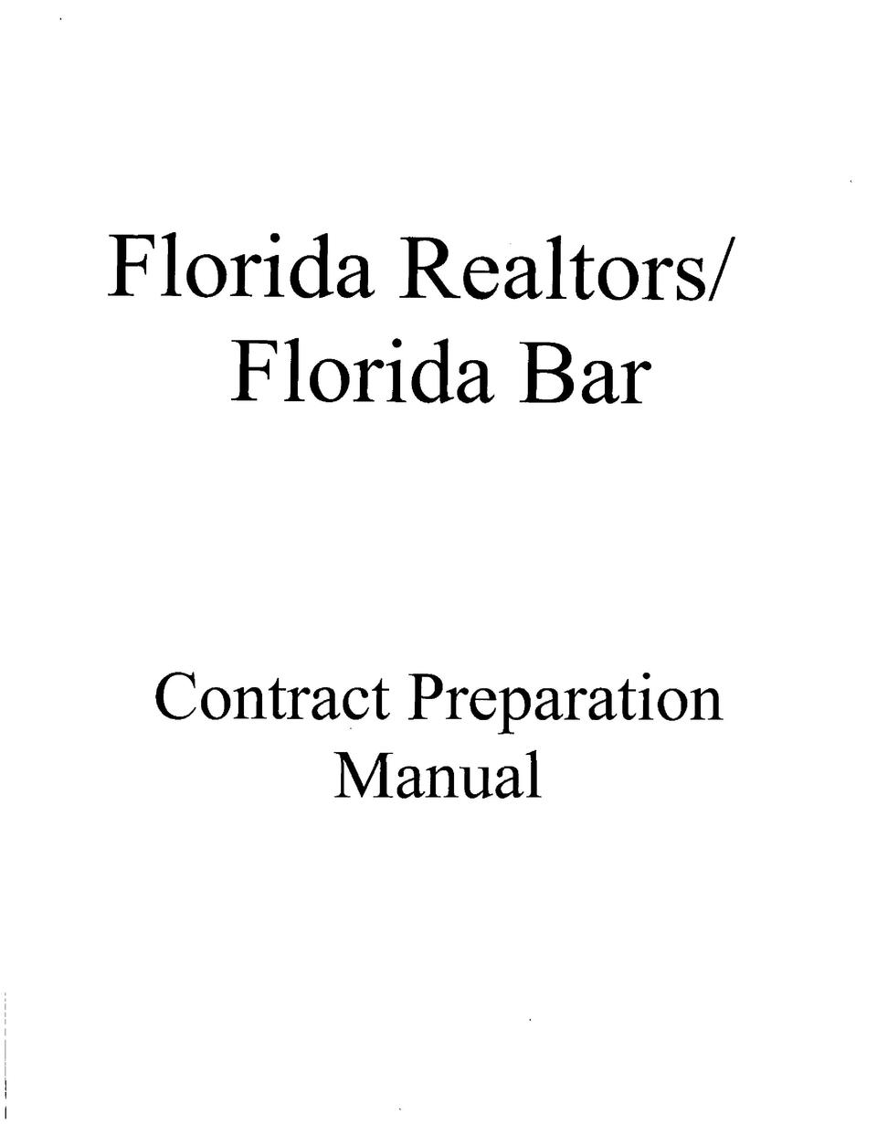 Florida Realtors  Florida Bar Contract Preparation Manual