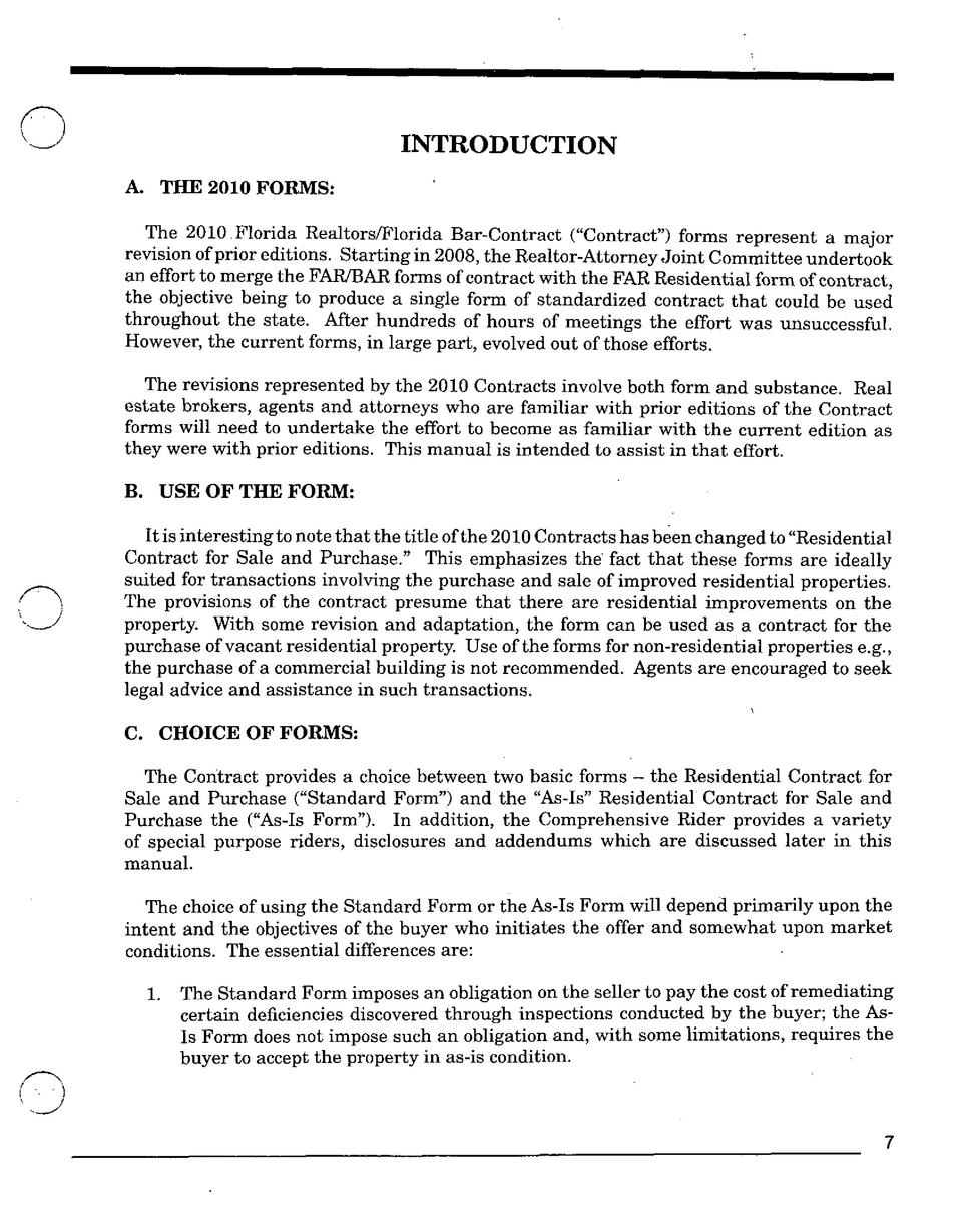 INTRODUCTION A. THE 2010 FORMS  The 2010 Florida Realtors Florida Bar-Contract   Contract   forms represent a major revisi...
