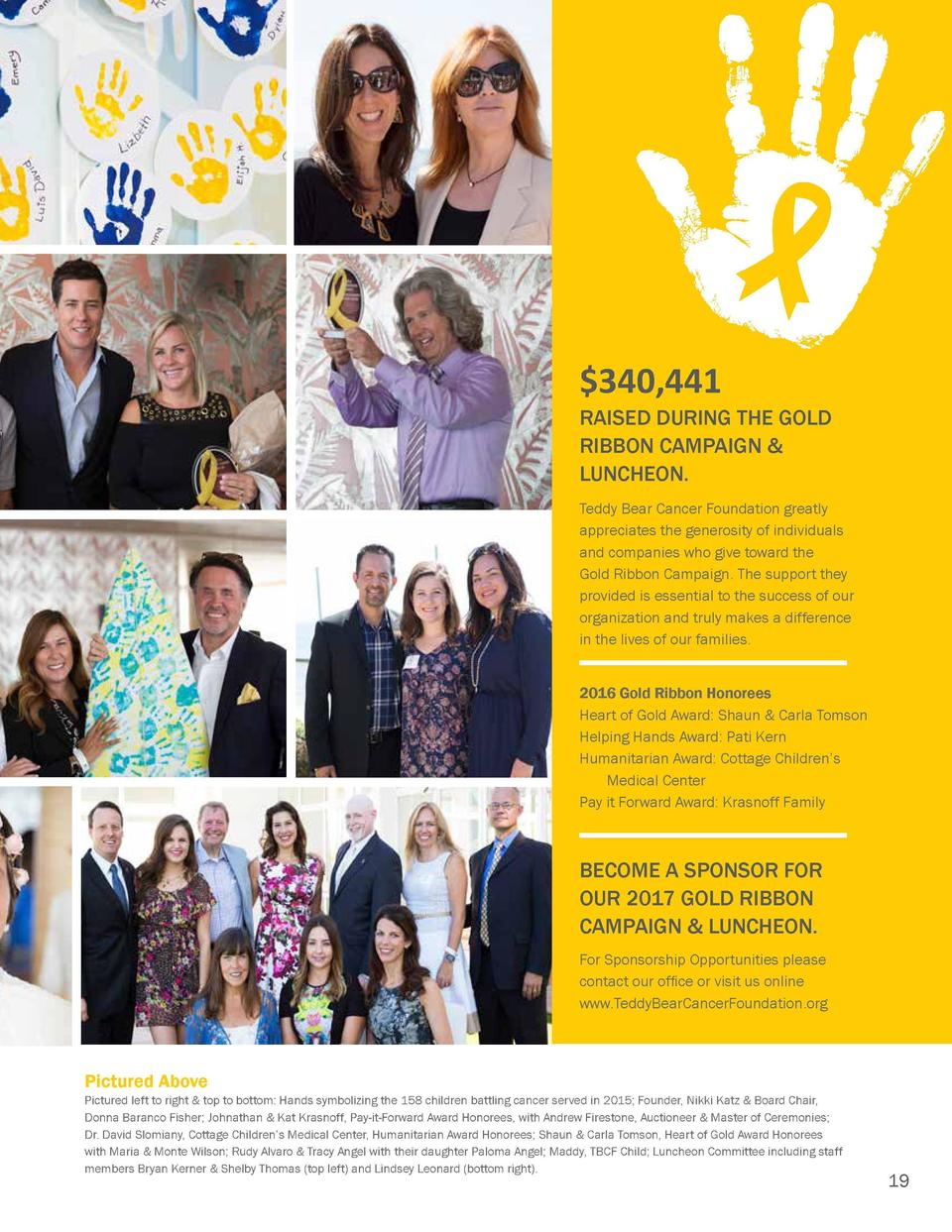 Gold Ribbon Campaign   Luncheon Teddy Bear Cancer Foundation   s 4th annual awareness and fundraising effort, the Gold Rib...