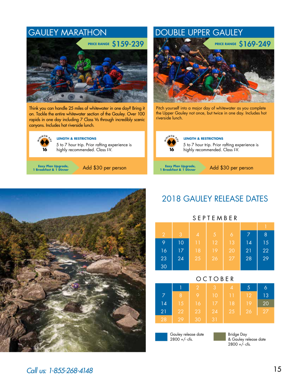 GAULEY MARATHON  159-239  UM  5 to 7 hour trip. Prior rafting experience is highly recommended. Class I-V.  Easy Plan Upgr...