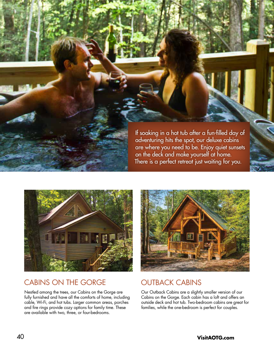 If soaking in a hot tub after a fun-filled day of adventuring hits the spot, our deluxe cabins are where you need to be. E...
