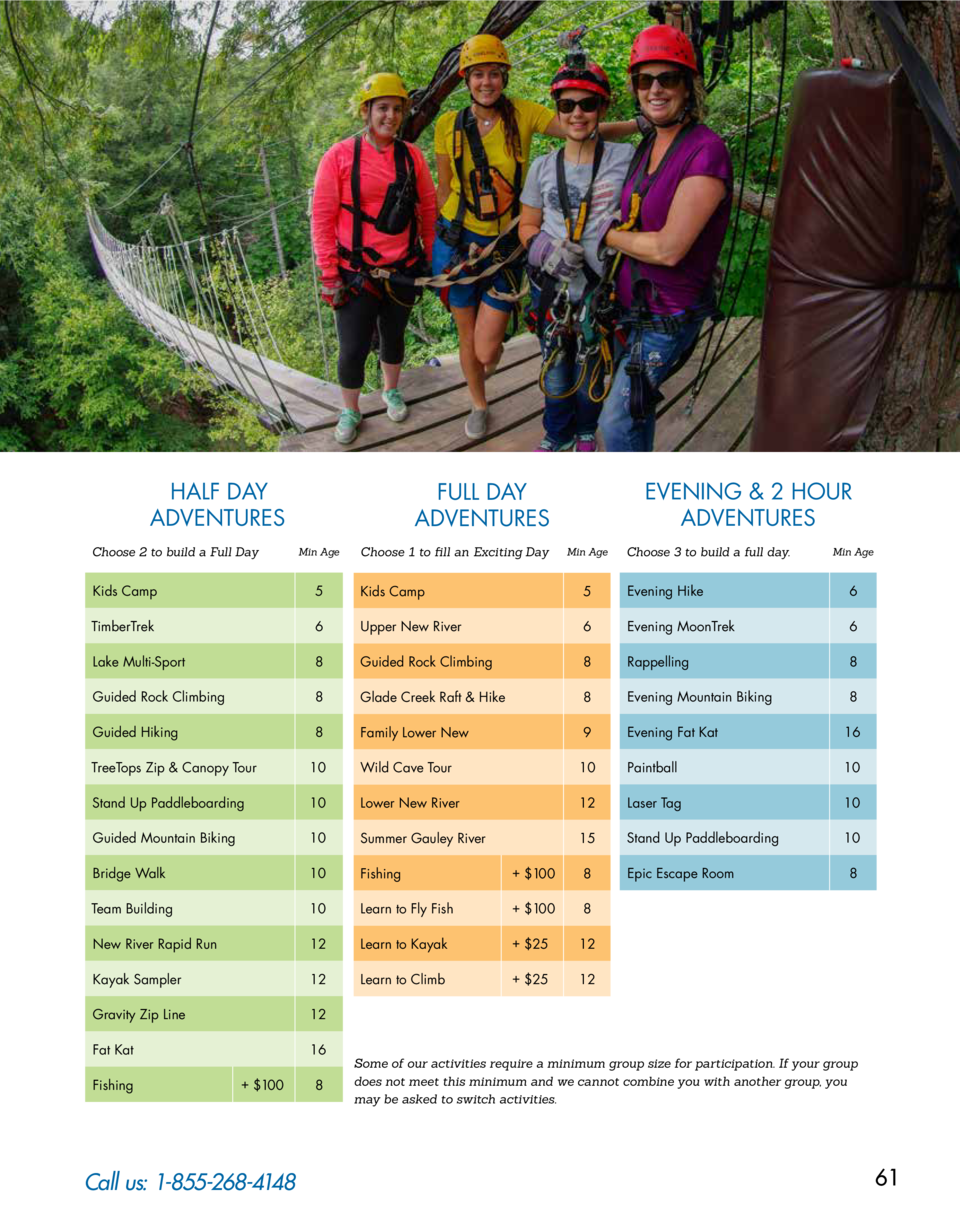HALF DAY ADVENTURES Choose 2 to build a Full Day  EVENING   2 HOUR ADVENTURES  FULL DAY ADVENTURES Min Age  Choose 1 to fi...